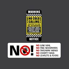 No Junk Mail, No Cold Callers Twin Pack - Letterbox Stickers - Front Door Sign