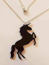 Mystical Unicorn Necklace - Black Acrylic