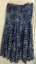 Grace Elements Medium Blue & White Skirt Watercolor Tie Dye Gypsy Boho Maxi EUC