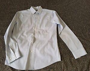 H&M Men's Shirt Striped Slim Fit Sz XS White Blue Button Up
