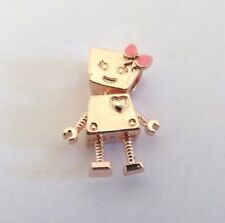 Adorable Rose Gold Plated BELLA BOT Robot Doll Bracelet Charm Bead, Pink Bow