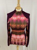 prAna Women's Sierra 1/4 Zip Pullover L/S Top Burgundy Tie Dye Yoga Size Small