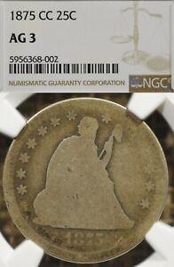 1875-CC 25C NGC AG3 Seated Liberty Quarter Carson City Lowball