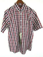 Orvis Mens Red Plaid Short Sleeve Button Front Shirt Medium Wrinkle Free New