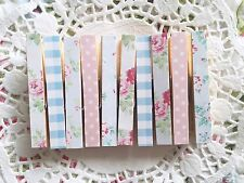 Vintage Shabby Chic Floral Dotty Gingham Set of 10 Wooden Pegs Crafts Polaroid