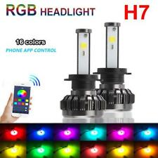 2x H7 RGB Color Changing LED Headlight Kit Phone APP Controller Light for Car