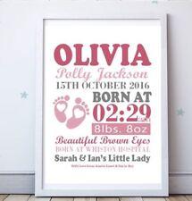 Personalised A4 Design Poster New Baby, Birth, Nursery, Newborn Gift Girl Boy