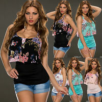 Womens Top Clubbing Ladies Blouse 2 in 1 look Floral Party Shirt Size 6 8 10 12