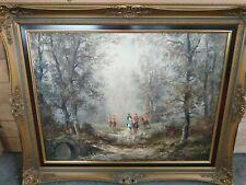 Öl Bild Gemälde Holzrahmen   Wald Landschaft Wiese Tiere signiert Waltner