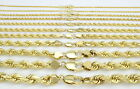 14K Yellow Gold Solid 1-10mm Rope Chain Link Pendant Necklace Men Women 16
