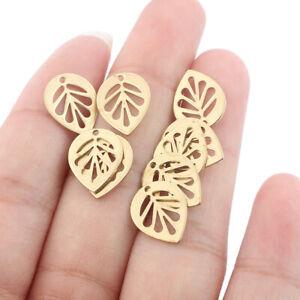 30Pcs Raw Brass Leaf Charms Pendants for Jewelry Earring Bracelet Making 11*14mm