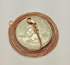"18k Real Rose Gold Round Box Chain Necklace 20"" 0.6 MM Women,Children"