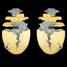 UNHEATED NATURAL AQUAMARINE HANDMADE 2-TONE GOLD & STERLING SILVER 925 EARRING