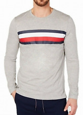 Tommy Hilfiger Men's Modern Essentials Logo Stripe Long Sleeve T-Shirt Gray Sz L