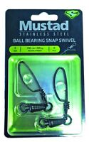 MUSTAD BALL BEARING STAINLESS SWIVEL TOURNAMENT SNAP  2 PACK-PICK SIZE-FREE SHIP