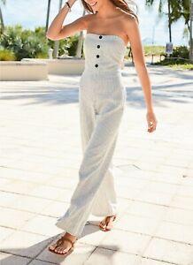 NEXT Neutral Stripe Linen Blend Strapless Jumpsuit Size 14 Petite BNWT RRP £40