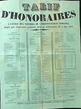 """AFFICHE """"TARIF D'HONORAIRES A L'USAGE DES NOTAIRES D' ORANGE 1851"""
