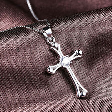 Beauty Women White Gold Plating Cross Crystal Necklace Pendant Jewelry Hot