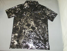 Cromwell Men's Black & Chrome Fashion S/S Polo Shirt L on Tag Actual Fit is S