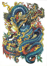 Temporary Tattoos Large Arm Body Waterproof Sticker Removable Arm Blue Dragon