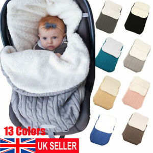 UK Newborn Baby Swaddle Infant Sleeping Bag Warm Knited Blanket Stroller Wrap