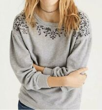 AMERICAN EAGLE M Gray Embroidered Sweatshirt Pullover Top Puff Sleeve Womens
