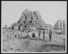 Coolies,Sedan Chairs,Ruins of Hindu Temple,Prambanan,Java,Ind onesia,Shrine 8272