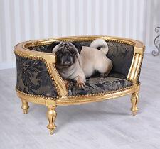 Barock Hundebett Gold Schwarz Hundesofa Mops Sofa Hundekorb Antik Stil