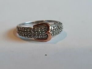 10k Gold and Sterling Silver Ring 925 Size 7  Diamond