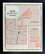 1876 Indiana Map -  Fayette County - Connersville Alquina Bentonville Everton