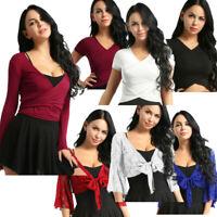 Womens V Neck Crop Tops Lace Sheer Ballet Dance Long Sleeve Wrap Blouse Shirts