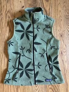 Rare VTG PATAGONIA SYNCHILLA Fleece Full-Zip Vest Green ski hike Floral XS