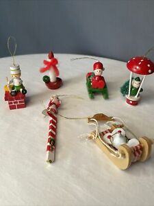 Wooden Christmas Ornaments Lot of 6 Taiwan Vintage Sled Mouse Mrs Claus Chimney