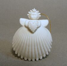 Margaret Furlong 1994 Boxed Bisque Shell Angel Ornament Holding Heart