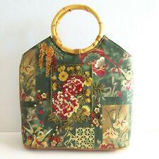 Prezzo Asian Floral Sequins Bamboo Handles Women's Purse Handbag Magnetic Snap