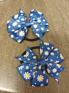 Floral Daisy Print Bow Bobbles Hair Tie Hair Band Hairband ☆ Navy Blue