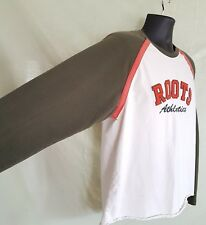 ROOTS Athletics Large LS T Shirt Color Block Baseball Sleeve Spell Out Crest