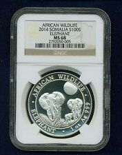 "SOMALIA 2014 100 SHILLINGS SILVER COIN ""ELEPHANT"" CERTIFIED SUPERB GEM NGC MS68"
