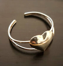 Thai Sterling Silver Toe Finger Double Wire Open Plain Ring W/ Solid Heart Shape