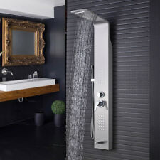 Stainless Steel Shower Panel Tower Rain&Waterfal With Massager Body Jets Tub Tap