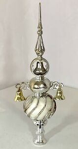 VINTAGE BRADFORD CHRISTMAS PLASTIC TREE TOPPER FACETED SILVER Bell Steeple