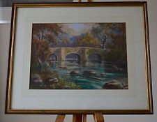 Ivor Mackenzie 1880 Pastel of Derbyshire Countryside Bridge Over the River Signe