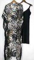 Alia Women's Dress Palm Printed & Embellished Caftan Style Size X Small
