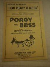 "PORGY and BESS Sheet Music 1941 ""I Got Plenty o' Nuttin"" Gershwin Black AmericaN"