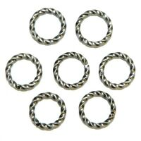 M7234 Antiqued Silver 8mm Twisted Round Jumpring Plated Brass 16gauge Wire 100pc