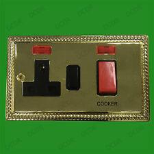 2 Toma, georgiano latón, 13a GB 3 Pin Red Eléctrica Enchufe, 45a Cocina