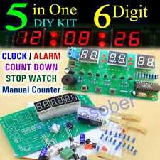 DIY 5in1 Kit 6 Digit Digital LED Timer Alarm Electronic Clock Parts AT89C2051
