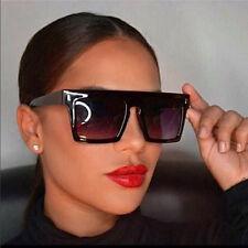 Aviator Vintage Sunglasses Black Rectangular Flat Top Men Women Fashion