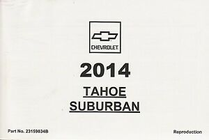 2014 Chevrolet Tahoe Suburban Owner's Owners Owner Manual NEW 23159034B