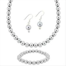 Sterling Silver Gray Pearl Cats Eye Jewelry Set